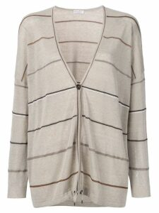 Brunello Cucinelli striped knitted cardigan - Neutrals