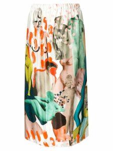 Marni afrodite print tulip skirt - White