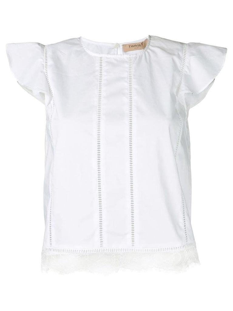 Twin-Set flutter sleeve blouse - White