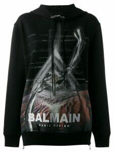 Balmain logo printed hoodie - Black