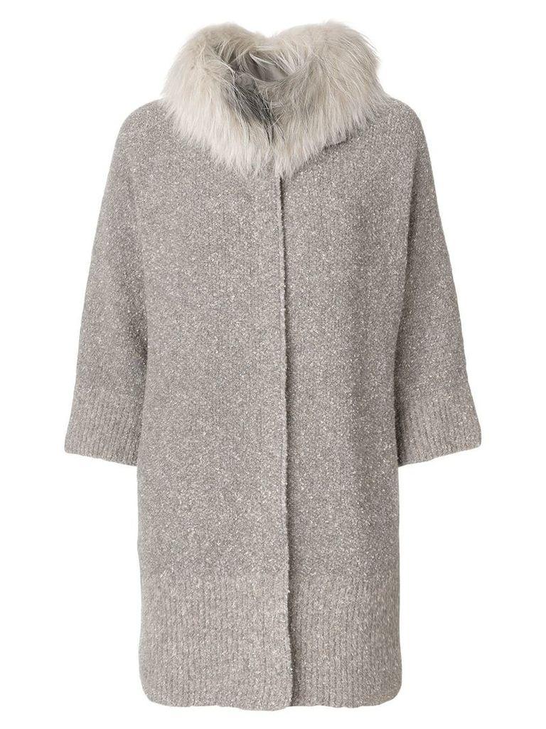 Fabiana Filippi fur trim cardi-coat - Neutrals