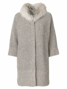 Fabiana Filippi fur trim cardi-coat - Neutrals