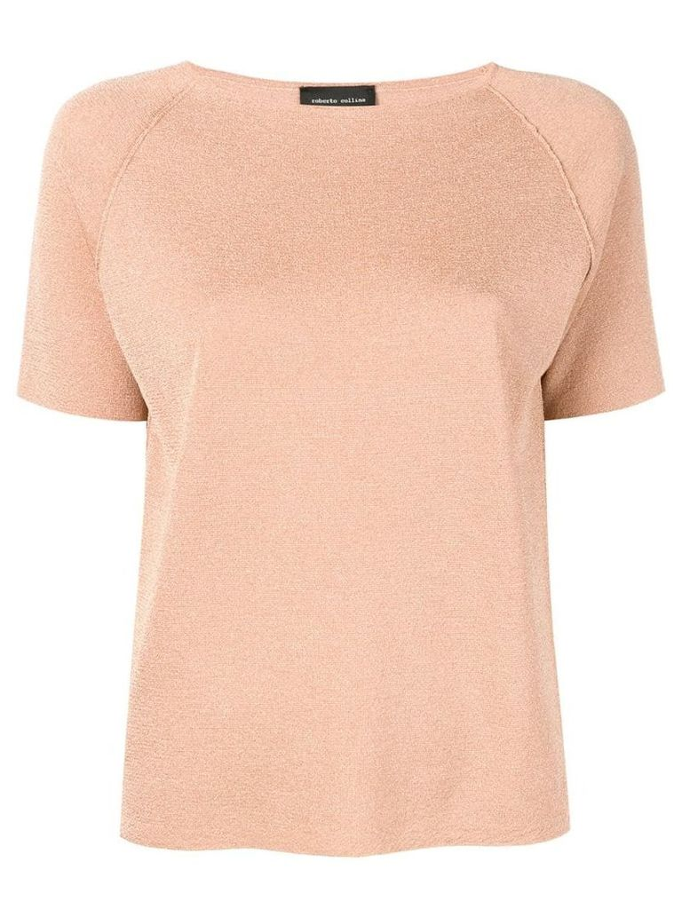 Roberto Collina short sleeved knitted top - Orange