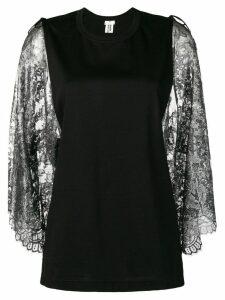 Comme Des Garçons Noir Kei Ninomiya lace sleeve top - Black