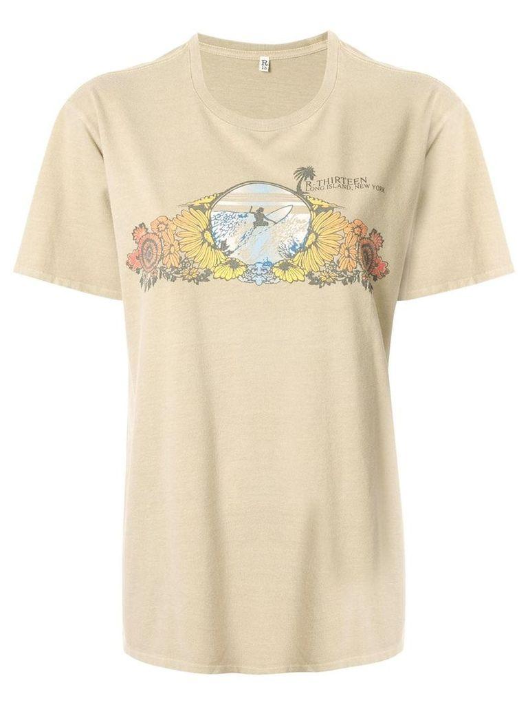 R13 Long Island Surf boyfriend T-shirt - Brown