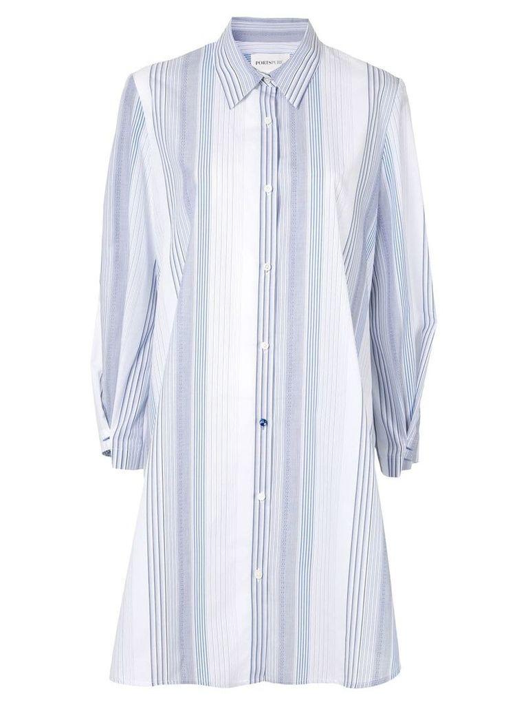 Ports Pure striped shirt dress - White