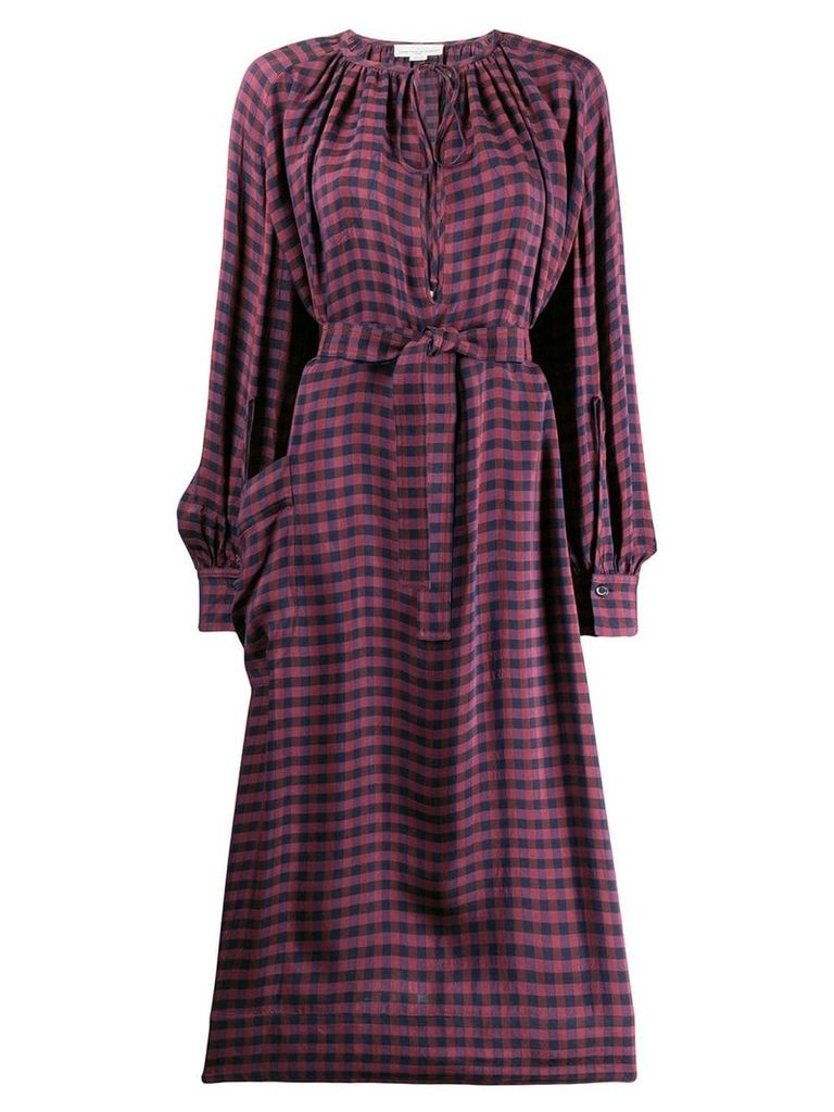 Golden Goose Deluxe Brand check midi dress - Red
