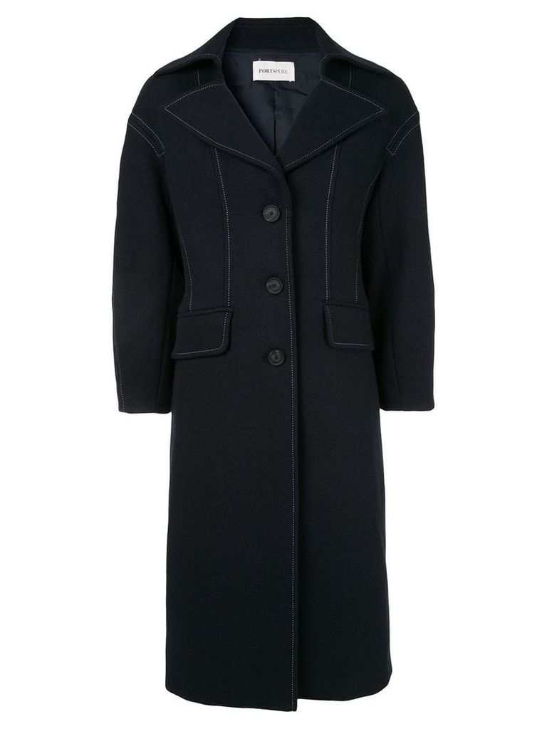 Portspure contrast stitching coat - Blue