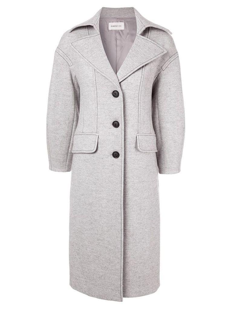 Portspure contrast stitching coat - Grey