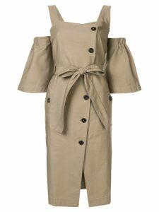 PortsPURE buttoned midi dress - Brown