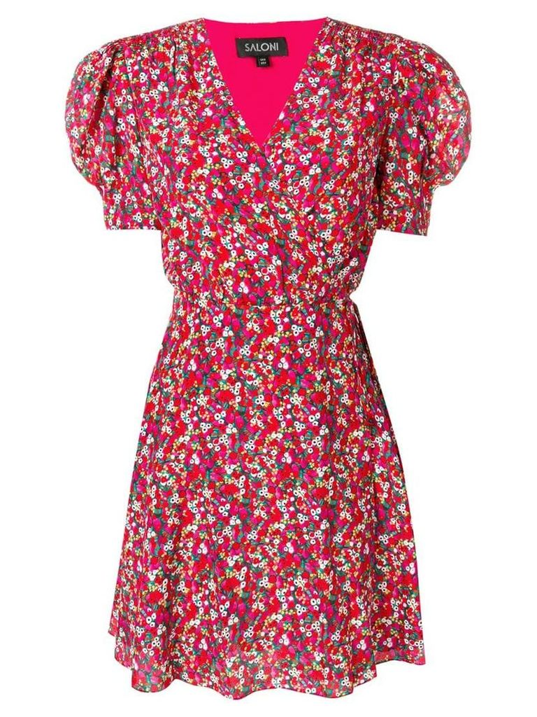Saloni poppyfield wrap mini dress - Pink