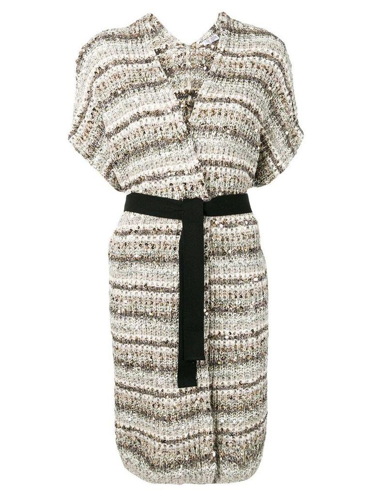 Brunello Cucinelli knitted short sleeve cardigan - Neutrals