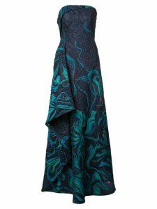 Rubin Singer strapless asymmetric cloque gown - Blue