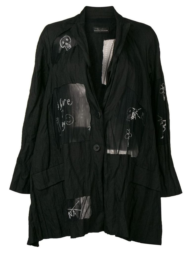 Barbara Bologna sketch print coat - Black