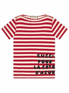 Gucci Stripe cotton shirt with patch - Red
