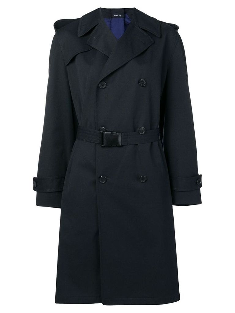Maison Margiela buckled belt trench coat - Blue