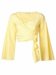 Sara Battaglia wrap crop top - Yellow