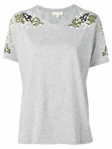 Michael Michael Kors floral appliqué T-shirt - Grey