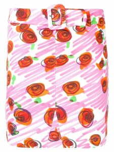 Moschino rose printed brushstroke skirt - White