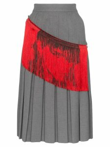 Calvin Klein 205W39nyc fringe detail pleated midi skirt - Grey