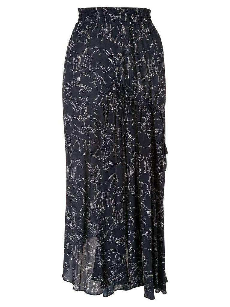 Lee Mathews Pony Print Asymmetric Silk Skirt - Blue