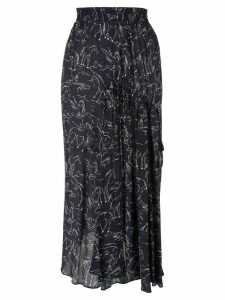 Lee Mathews Pony Print Asymmetric Silk Skirt - Blue