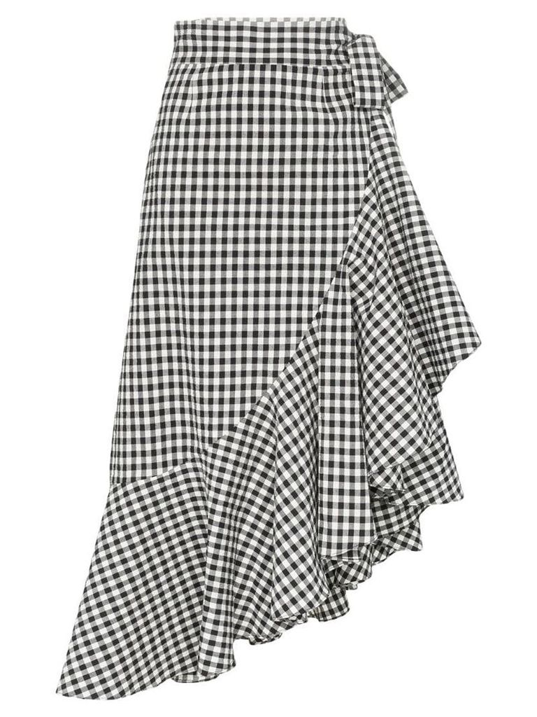 Paper London Lagos gingham ruffle wrap skirt - Black