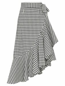 Paper London Lagos gingham ruffle wrap skirt - Black