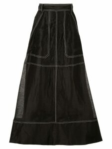 Lee Mathews Lotte Crushed Midi Skirt - Black