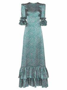 The Vampire's Wife Veneration leaf print ruffle dress - Green