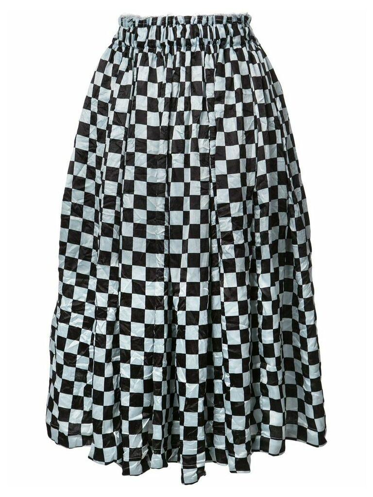 Comme Des Garçons Checkered Pattern midi skirt - Black