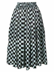 Comme Des Garçons Checkered Pattern midi skirt - Black