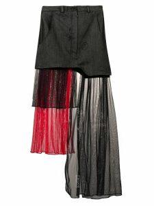 Barbara Bologna tulle panel denim skirt - Grey
