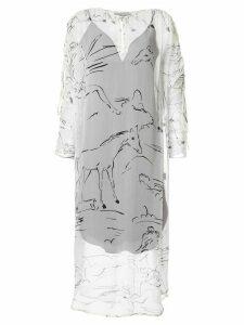 Lee Mathews Gypsy Silk Channel Dress - White