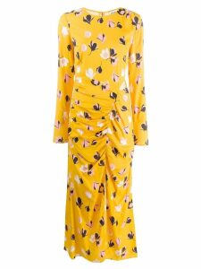 Self-Portrait printed ruched maxi dress - Yellow