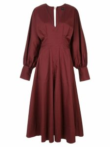 Lee Mathews Elsie v-neck long-sleeve dress - Red