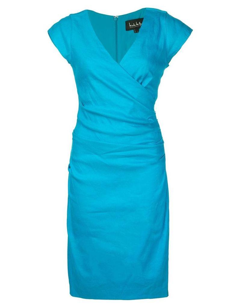 Nicole Miller wrap-front mid dress - Blue