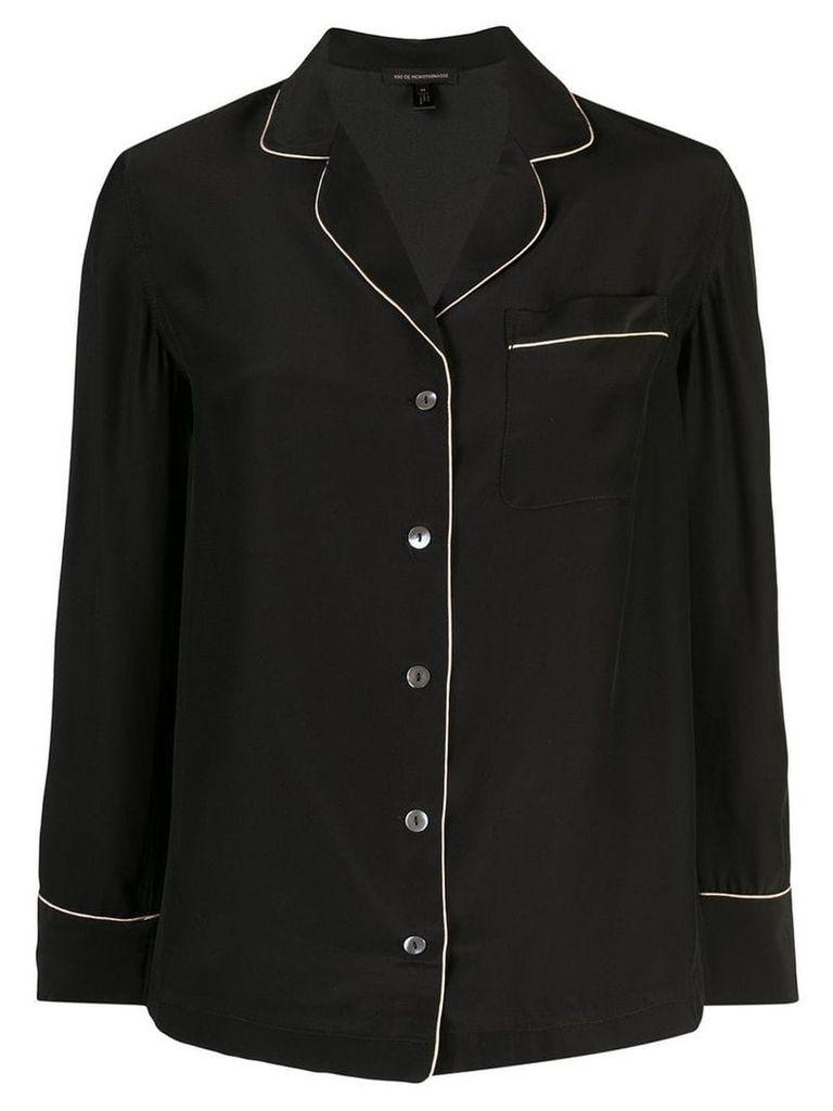 Kiki De Montparnasse contrast piped pyjama top - Black