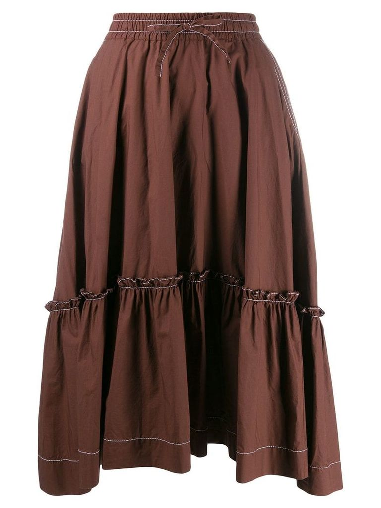 P.A.R.O.S.H. tiered midi skirt - Brown
