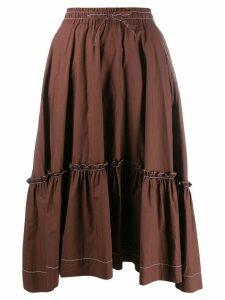 P.A.R.O.S.H. tiered midi skirt - Brown