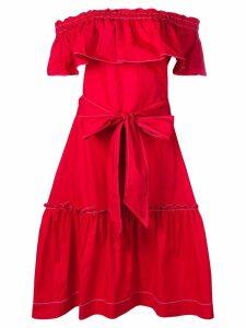 P.A.R.O.S.H. ruffle bardot dress - Red