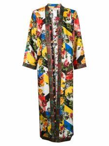 Black Coral floral print kimono - Yellow