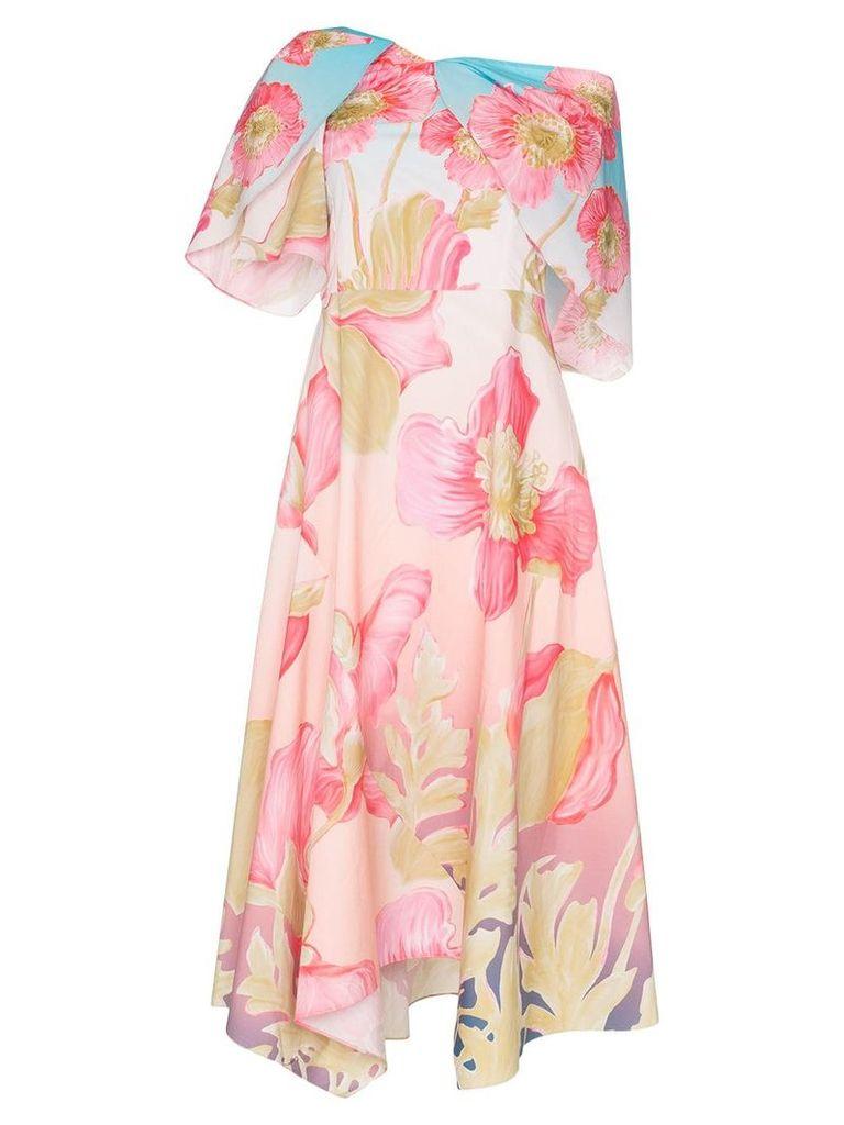 Peter Pilotto floral print off-shoulder dress - Sky Poppy