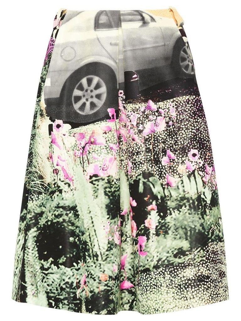 Prada car print skirt - Green