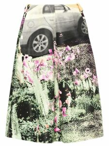 Prada car print skirt - Green