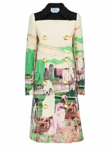 Prada graphic print coat - Green