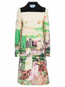 Prada graphic print coat - Green