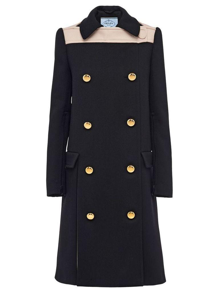 Prada Natte double-breasted coat - Black
