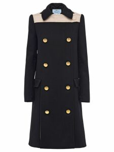 Prada Natte double-breasted coat - Black
