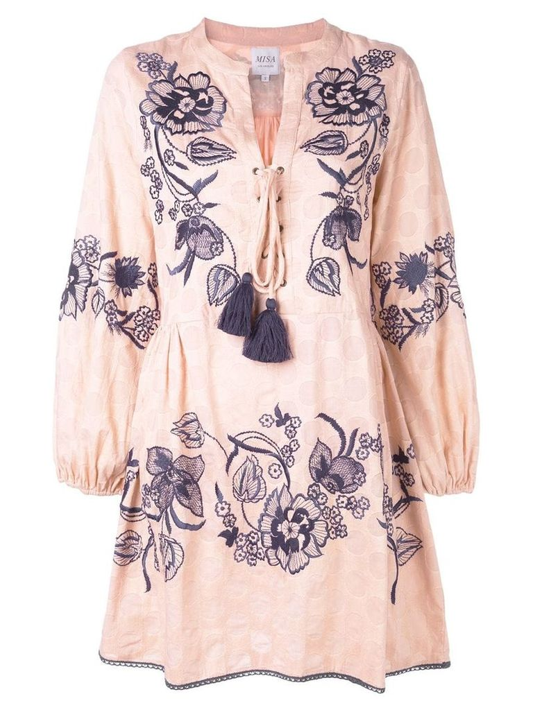 Misa Los Angeles embroidered peasant blouse - Pink